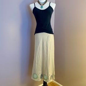 Boden Linen Skirt with Appliqué and Beading Detail